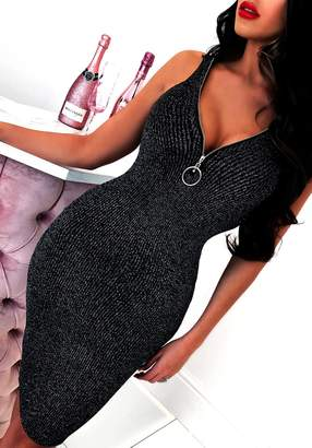 Pink Boutique Glitz It Up Silver Ribbed Lurex Sleeveless Midi Dress