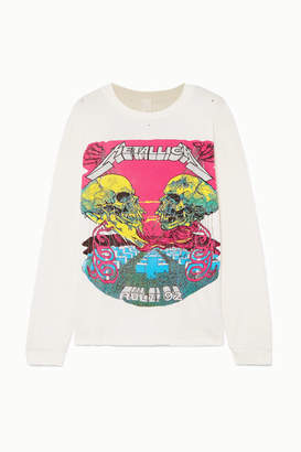 MadeWorn Metallica Distressed Glittered Printed Cotton-jersey T-shirt - Off-white