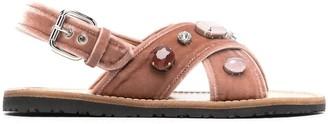 Car Shoe Crystal-Embellished Velvet Sandals