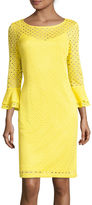 Studio 1 3/4-Sleeve Eyelet Lace Sheath Dress