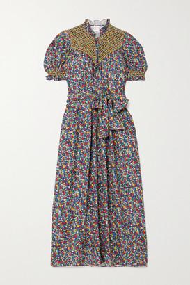 Loretta Caponi Elena Belted Ruffled Smocked Printed Poplin Midi Dress