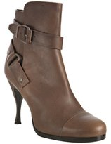 brown leather buckle strap ankle boots