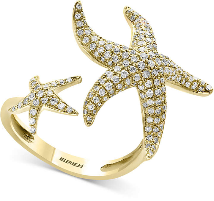 Effy Seaside by Diamond Pave Double Starfish Cuff Ring (3/4 ct. t.w.) in 14k Gold