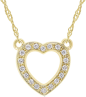 Diamond Select Cuts 14K Yellow Gold 0.10 Ct. Tw. Diamond Open Heart Necklace
