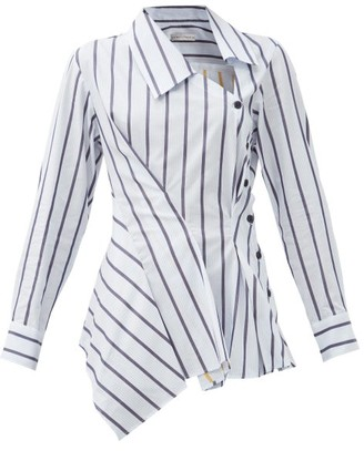 Palmer Harding Palmer//harding - Enata Striped Asymmetric Cotton-poplin Shirt - White Navy