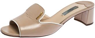 Prada Beige Saffiano Patent Leather Block Heel Slides Size 37.5