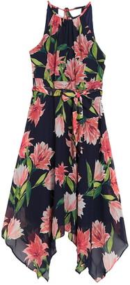Eliza J Floral Print Asymmetrical Midi Dress