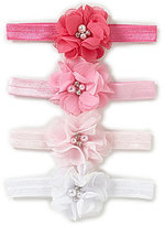 Starting Out Baby Girls 4-Pack Pearl Rhinestone Flower Headbands
