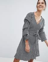 Vila Stripe Wrap Dress