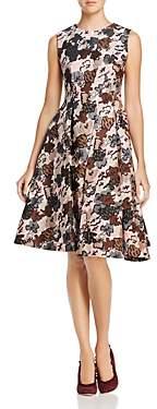 Paule Ka Leaf-Pattern Jacquard A-Line Dress