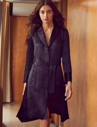 Halston Long Sleeve Crushed Satin Trench Coat Dress
