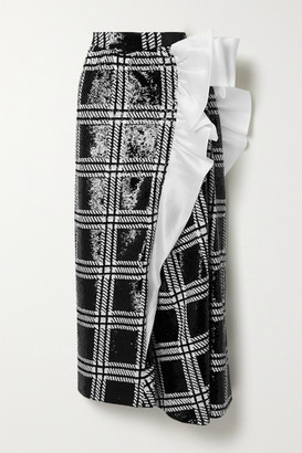 Rodarte Silk-organza Trimmed Checked Sequined Stretch-knit Maxi Skirt - Black