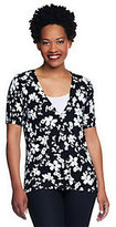 Denim & Co. As Is Floral Print Short Sleeve Button Front Cardigan