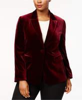 Tahari ASL Plus Size One-Button Velvet Blazer