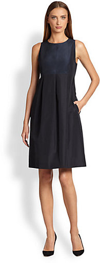 Max Mara Libano Bi-Color Taffeta Dress