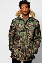 Boohoo Camo Print Parka Jacket With Faux Fur Hood