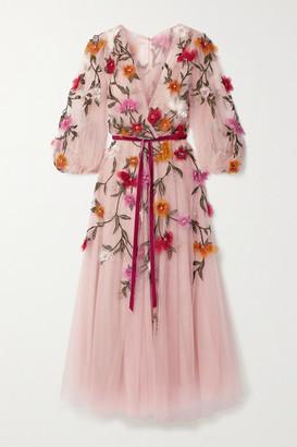 Marchesa Organza-appliqued Velvet-trimmed Tulle Midi Dress - Blush