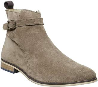 Office Brace Buckle Boots Taupe Suede