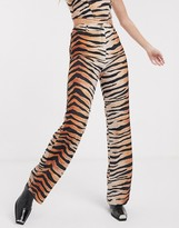 Jagger & Stone straight leg pants in tiger print co-ord