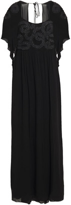 Just Cavalli Open-back Embroidered Georgette Maxi Dress