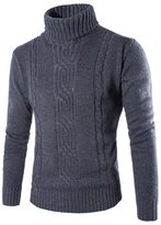 Verypoppa Men's Turtleneck Textured Knit Jumpers Pullover Sweater