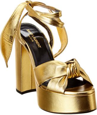 Saint Laurent Bianca Knot Metallic Leather Platform Sandal