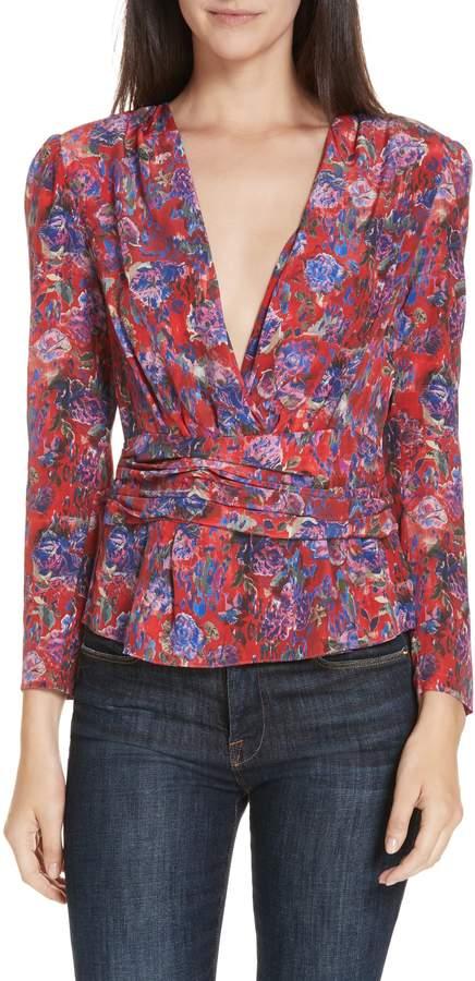 IRO Hurl Floral Print Silk Blouse