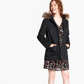 La Redoute Collections Mid-Length Parka with Faux Fur Hood and Pockets