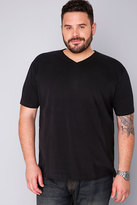 Yours Clothing BadRhino Black Basic Plain V-Neck T-Shirt - TALL