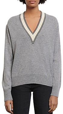 Sandro Camie Contrast V-Neck Sweater