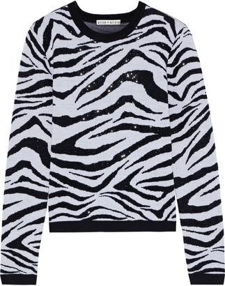 Alice + Olivia Connie Crystal-embellished Zebra-jacquard Wool-blend Sweater