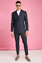 boohoo Mens Navy Skinny Tonal Check Double Breasted Suit Jacket, Navy