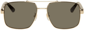 Gucci Gold Metal Double Bridge Sunglasses