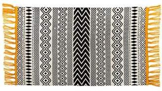 Roost Home Living - Scandi Boho Geometric Rug Yellow Tassels - Black/Natural