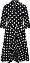 Zalinah White Alice Black And White Polka Dot Swing Midi Dress With Neck Bow