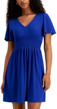 Planet Gold Juniors' Cinched Flutter-Sleeve Dress