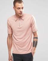Weekday Dig Zip Polo Neck Jumper Short Sleeve In Pink