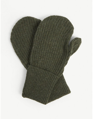 Ganni Recycled wool-blend mittens