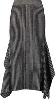 By Malene Birger Asymmetric metallic ribbed-knit midi skirt