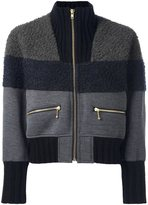 Kolor contrast panel bomber jacket - women - Nylon/Polyester/Wool - 3