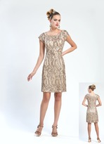 Sue Wong Sequined Square Neck Sheath Dress N4442