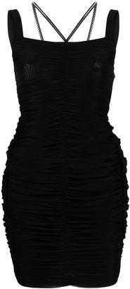 Philipp Plein Ruched Studded Short Dress