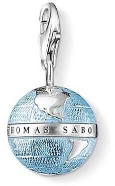 Thomas Sabo Women-Charm Pendant Globe Charm Club 925 Sterling Silver blackened blue 0754-007-1