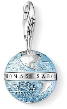 Thomas Sabo Women Charm Pendant Globe Charm Globe 925 Sterling Silver, Blackened, Blue Enamelled 0754-007-1