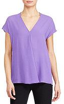 Lauren Ralph Lauren V-Neck Short Sleeve Solid Georgette Top