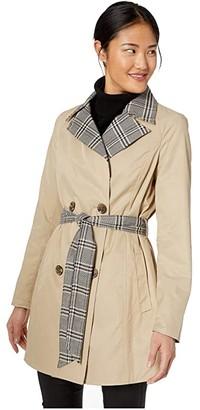 Sam Edelman Reversible Solid/Plaid Trench (Beige) Women's Coat