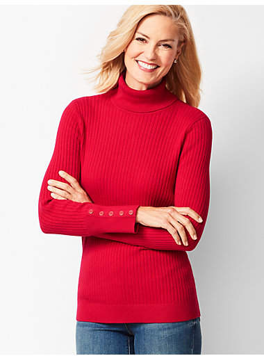 Talbots Button-Cuff Ribbed Turtleneck Sweater - Solid