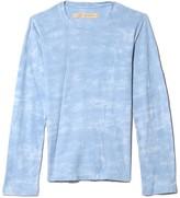 Raquel Allegra Cotton Jersey Long Sleeve Crew in Baby Blue Tie Dye