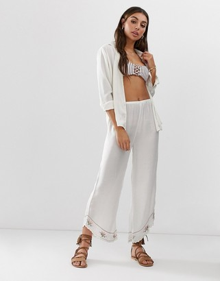 Amuse Society Tequila sunrise woven beach pant in pebble-White