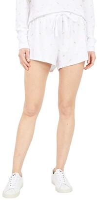 bobi Los Angeles Foil Print Knit Elastic Waist Shorts (White) Women's Clothing